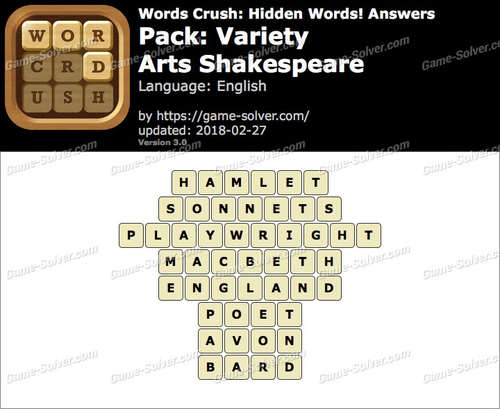 Words Crush Variety-Arts Shakespeare Answers