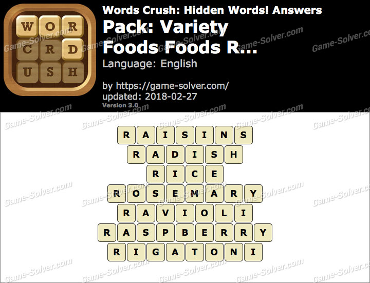 Words Crush Variety-Foods Foods R... Answers