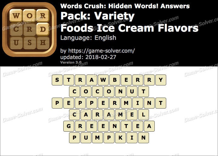 Words Crush Variety-Foods Ice Cream Flavors Answers