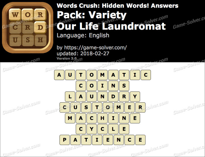 Words Crush Variety-Our Life Laundromat Answers