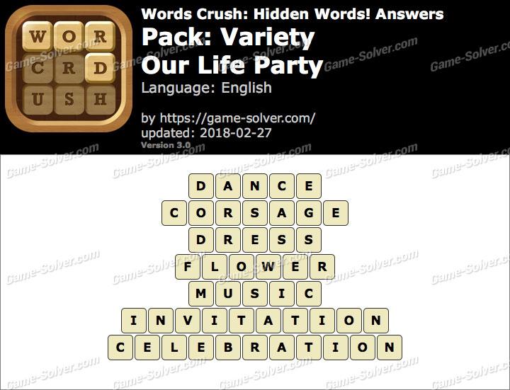 Words Crush Variety-Our Life Party Answers