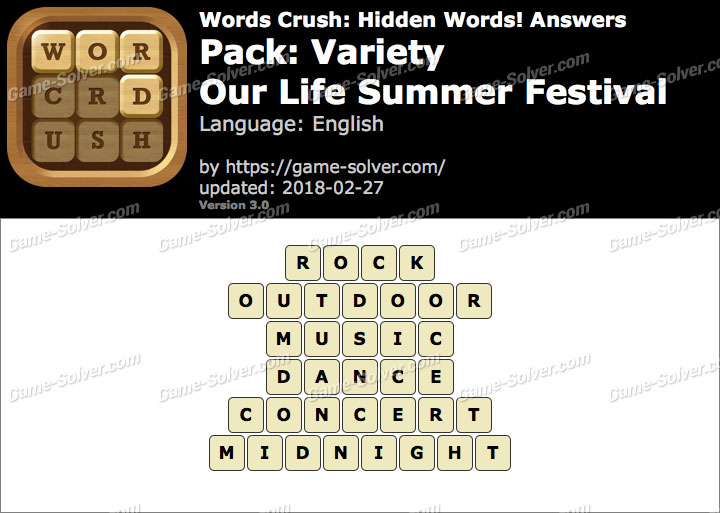 Words Crush Variety-Our Life Summer Festival Answers