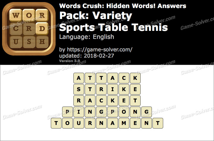Words Crush Variety-Sports Table Tennis Answers