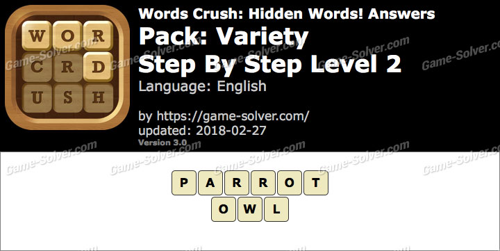 Words Crush Variety-Step By Step Level 2 Answers