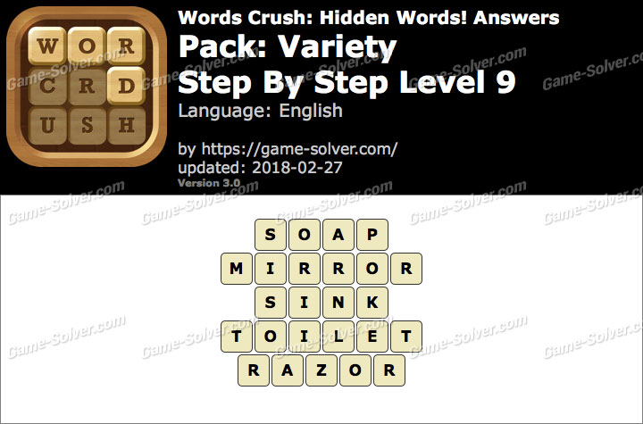 Words Crush Variety-Step By Step Level 9 Answers