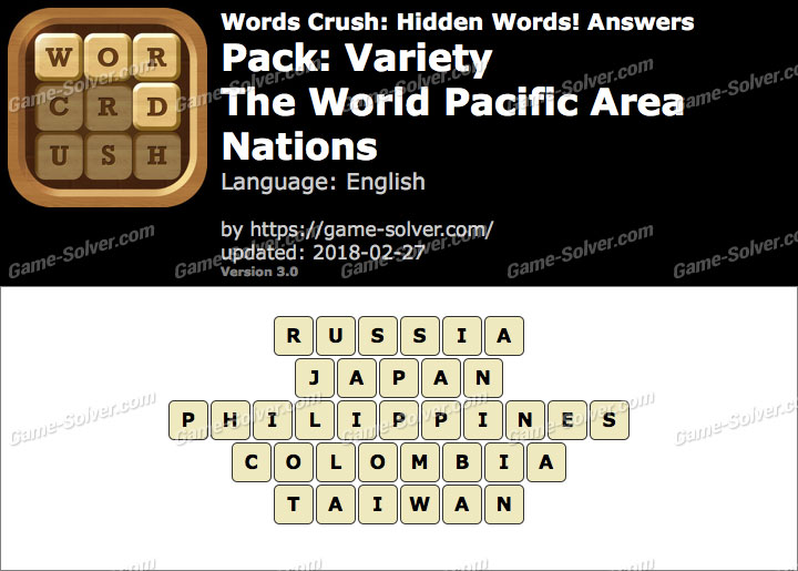 Words Crush Variety-The World Pacific Area Nations Answers