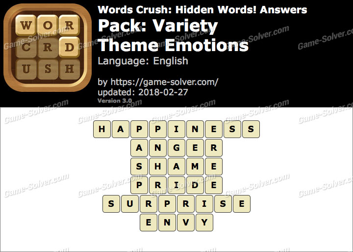 Words Crush Variety-Theme Emotions Answers