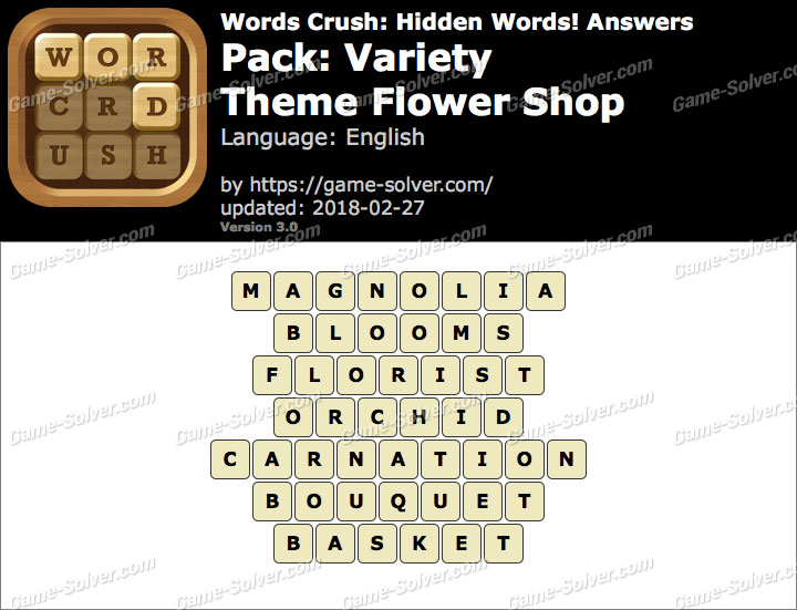Words Crush Variety-Theme Flower Shop Answers