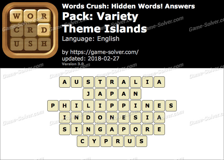 Words Crush Variety-Theme Islands Answers