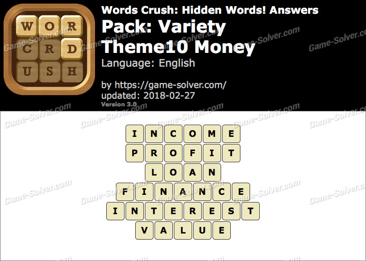Words Crush Variety-Theme10 Money Answers