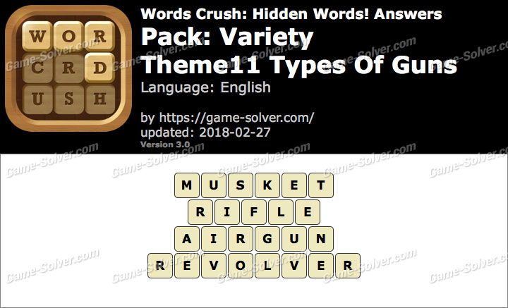 Words Crush Variety-Theme11 Types Of Guns Answers