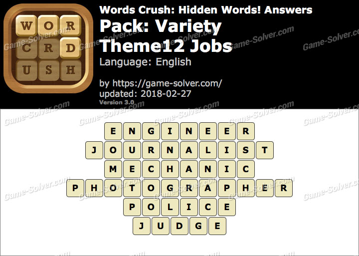 Words Crush Variety-Theme12 Jobs Answers