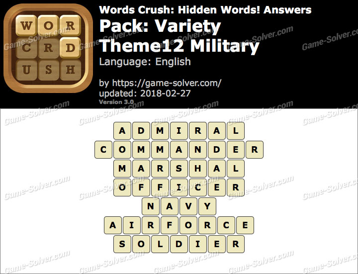 Words Crush Variety-Theme12 Military Answers