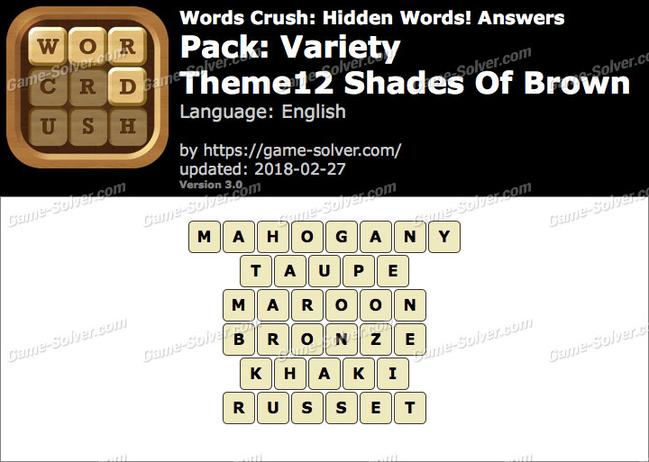 Words Crush Variety-Theme12 Shades Of Brown Answers