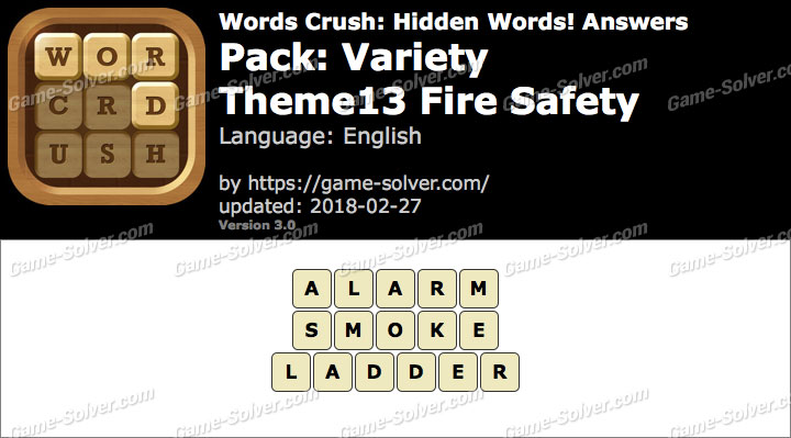 Words Crush Variety-Theme13 Fire Safety Answers