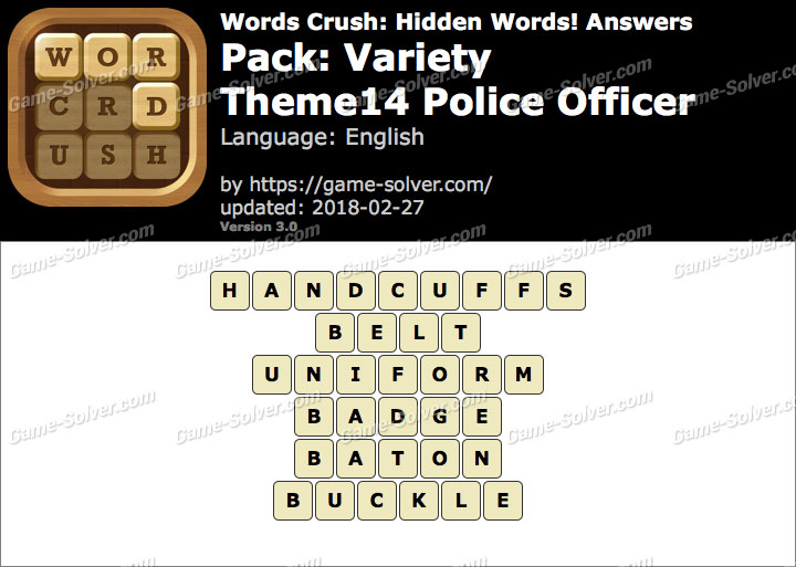 Words Crush Variety-Theme14 Police Officer Answers