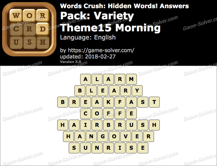 Words Crush Variety-Theme15 Morning Answers