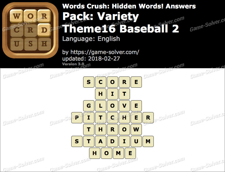 Words Crush Variety-Theme16 Baseball 2 Answers