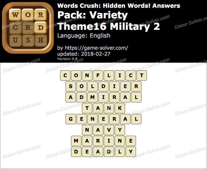 Words Crush Variety-Theme16 Military 2 Answers