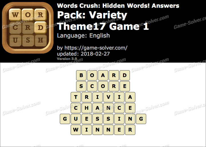 Words Crush Variety-Theme17 Game 1 Answers