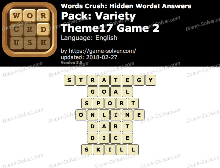 Words Crush Variety-Theme17 Game 2 Answers