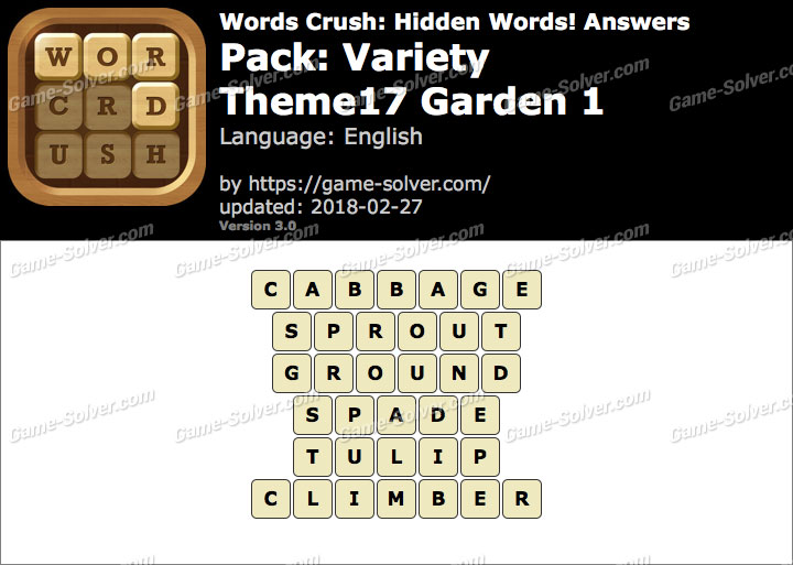 Words Crush Variety-Theme17 Garden 1 Answers