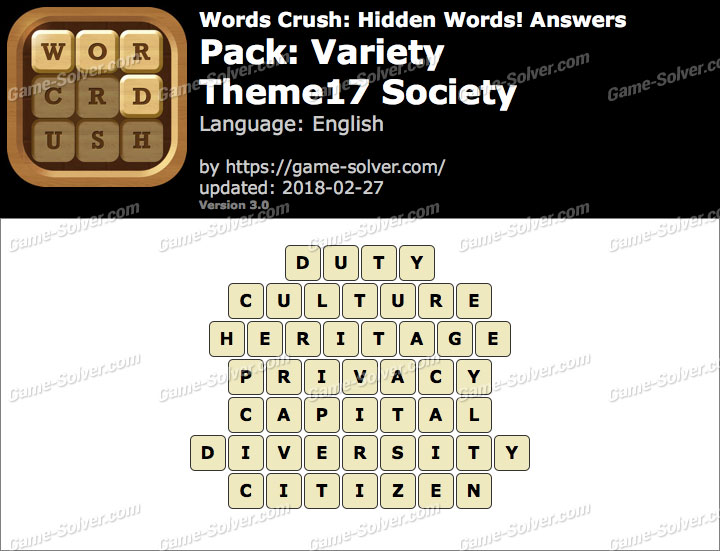 Words Crush Variety-Theme17 Society Answers