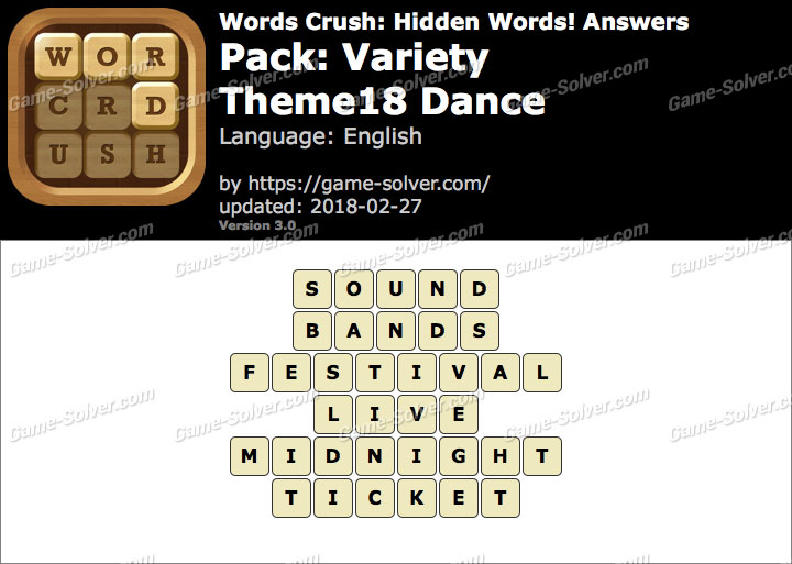 Words Crush Variety-Theme18 Dance Answers