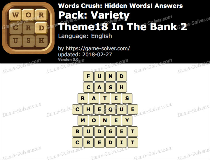Words Crush Variety-Theme18 In The Bank 2 Answers