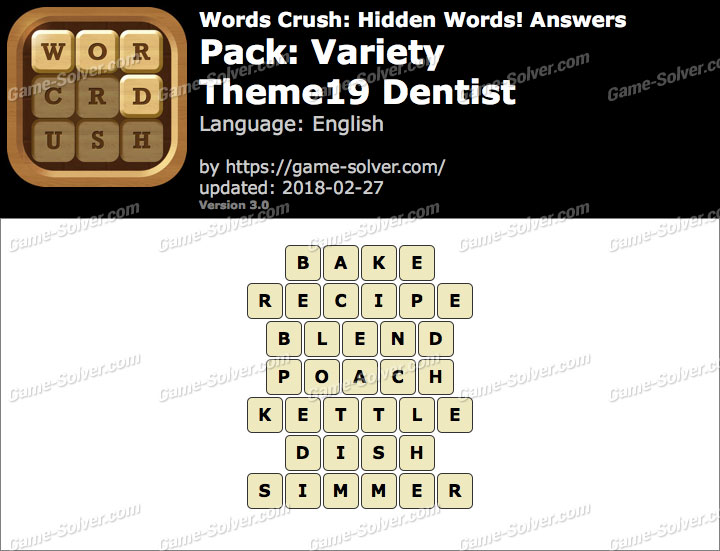 Words Crush Variety-Theme19 Dentist Answers