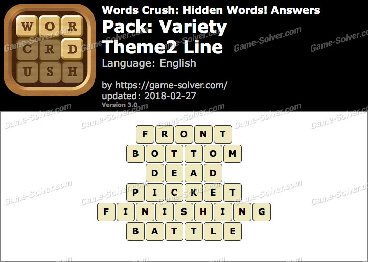 Words Crush Variety-Theme2 Line Answers