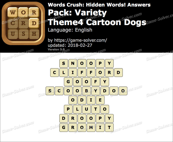 Words Crush Variety-Theme4 Cartoon Dogs Answers