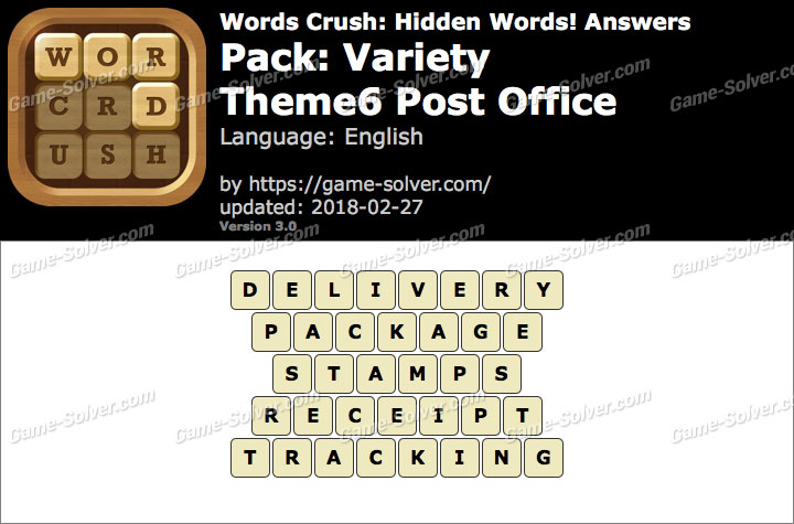Words Crush Variety-Theme6 Post Office Answers
