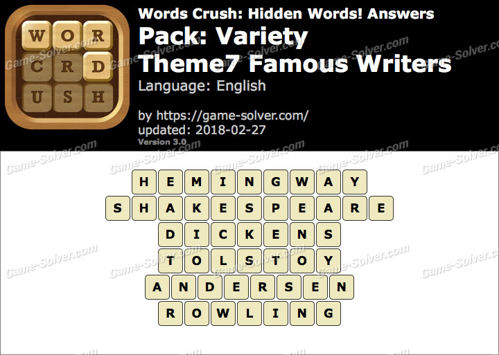 Words Crush Variety-Theme7 Famous Writers Answers