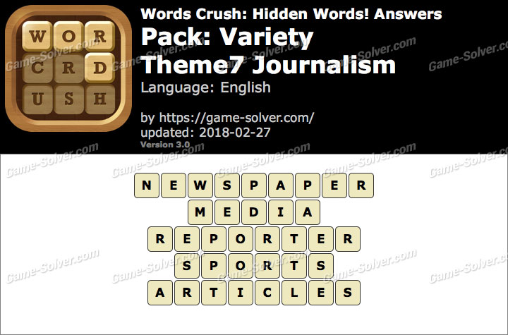 Words Crush Variety-Theme7 Journalism Answers