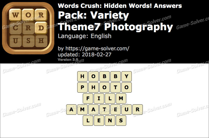 Words Crush Variety-Theme7 Photography Answers