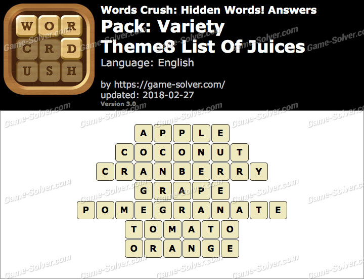 Words Crush Variety-Theme8 List Of Juices Answers