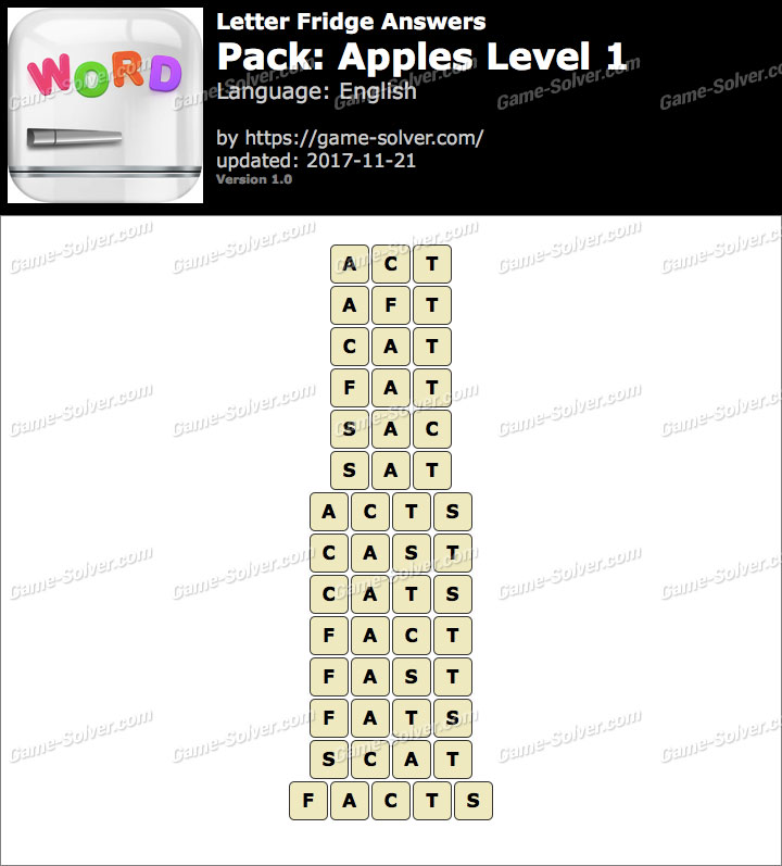 Letter Fridge Apples Level 1 Answers