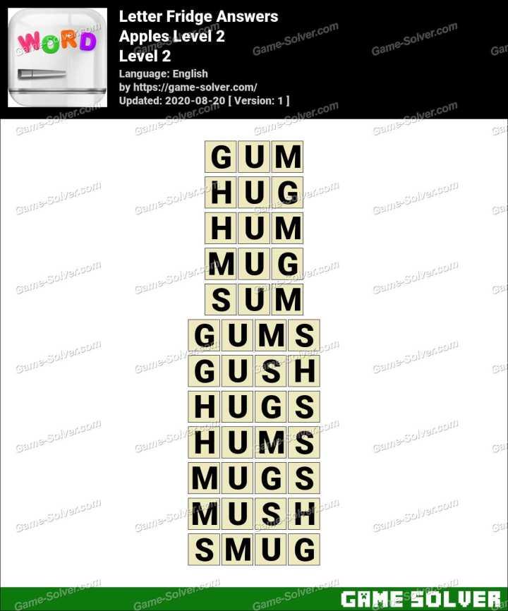 Letter Fridge Apples Level 2 Answers