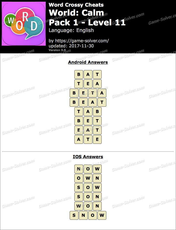 Word Crossy Calm Pack 1 Level 11 Answers