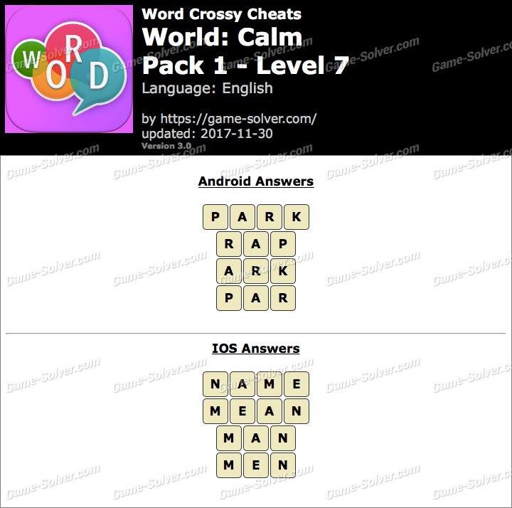 Word Crossy Calm Pack 1 Level 7 Answers