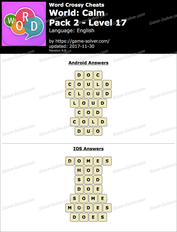 Word Crossy Calm Pack 2 Level 17 Answers