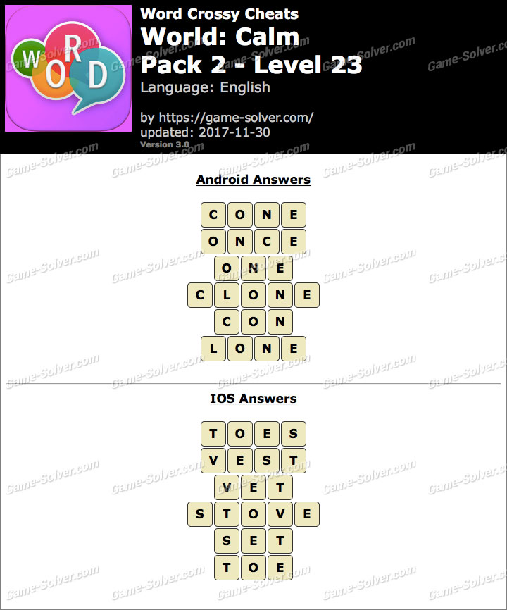 Word Crossy Calm Pack 2 Level 23 Answers