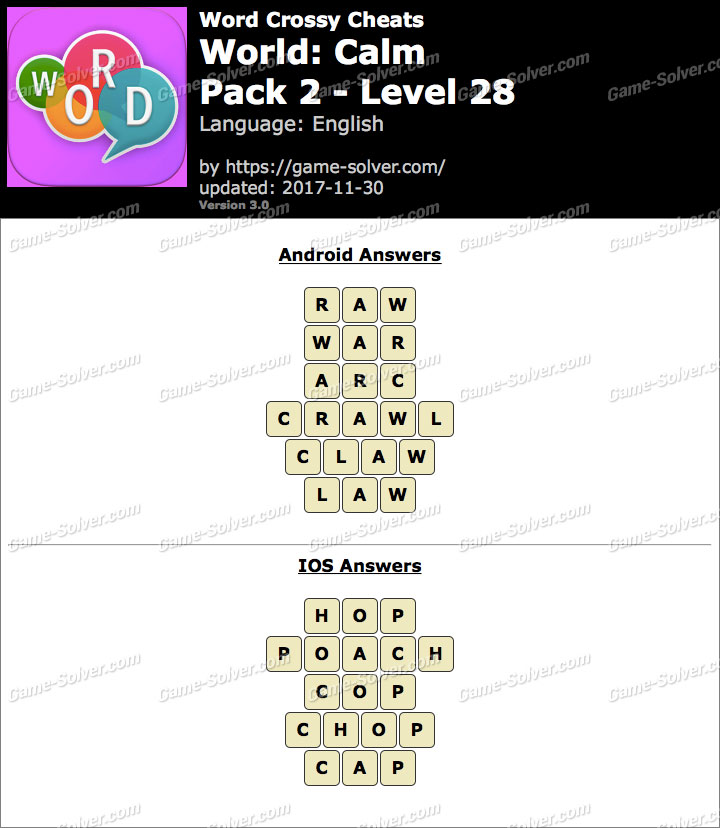 Word Crossy Calm Pack 2 Level 28 Answers