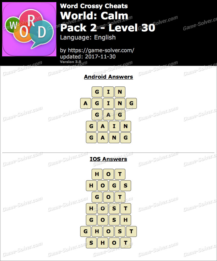Word Crossy Calm Pack 2 Level 30 Answers