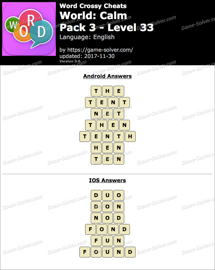 Word Crossy Calm Pack 3 Level 33 Answers
