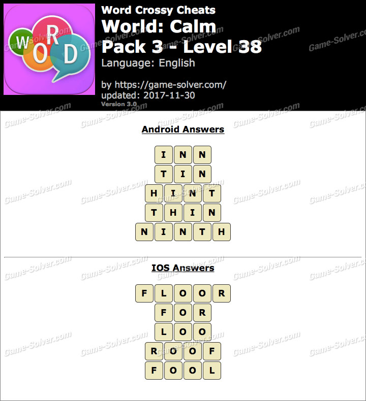Word Crossy Calm Pack 3 Level 38 Answers