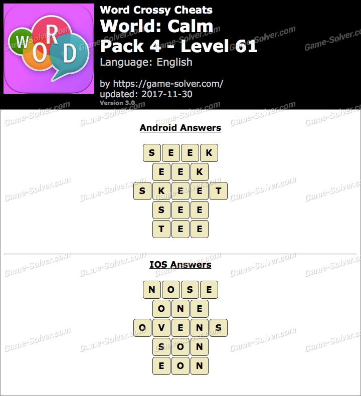 Word Crossy Calm Pack 4 Level 61 Answers