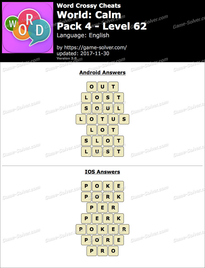 Word Crossy Calm Pack 4 Level 62 Answers