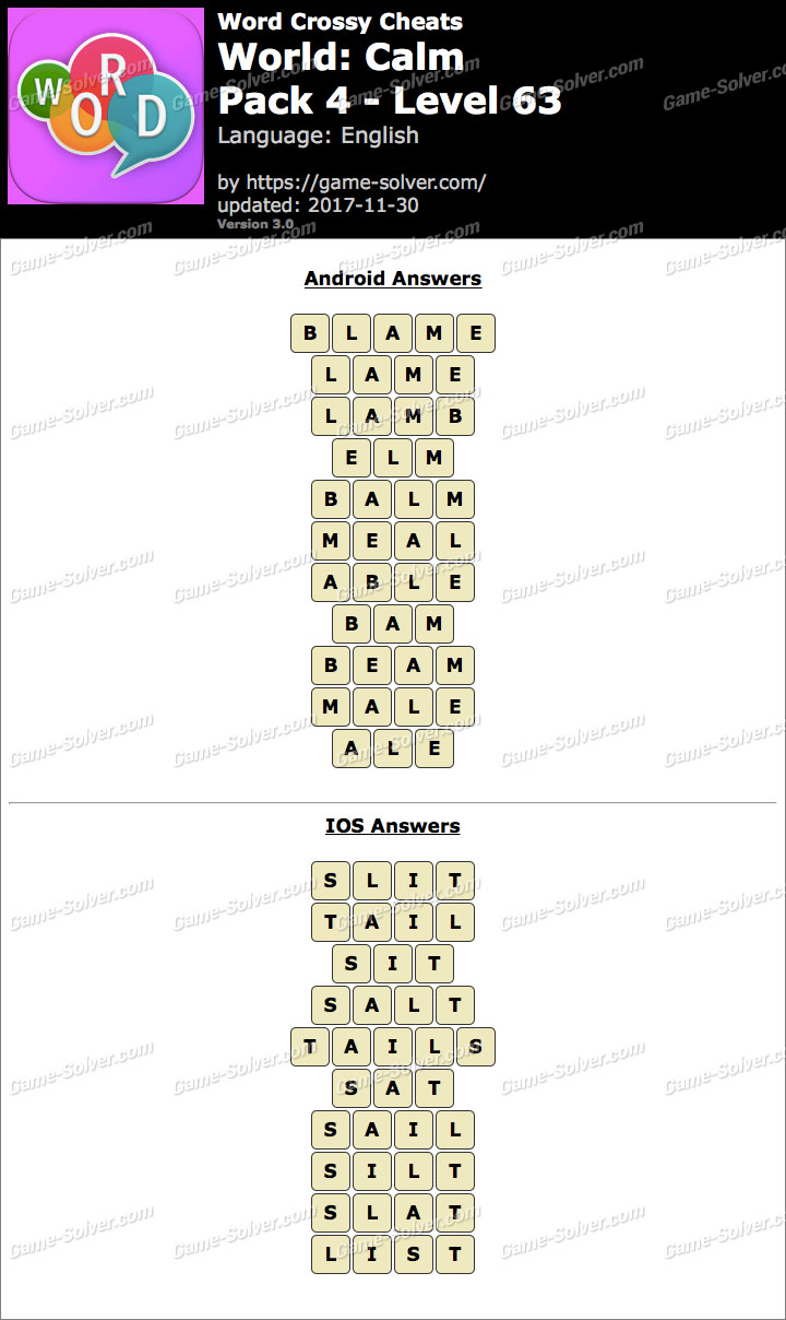 Word Crossy Calm Pack 4 Level 63 Answers